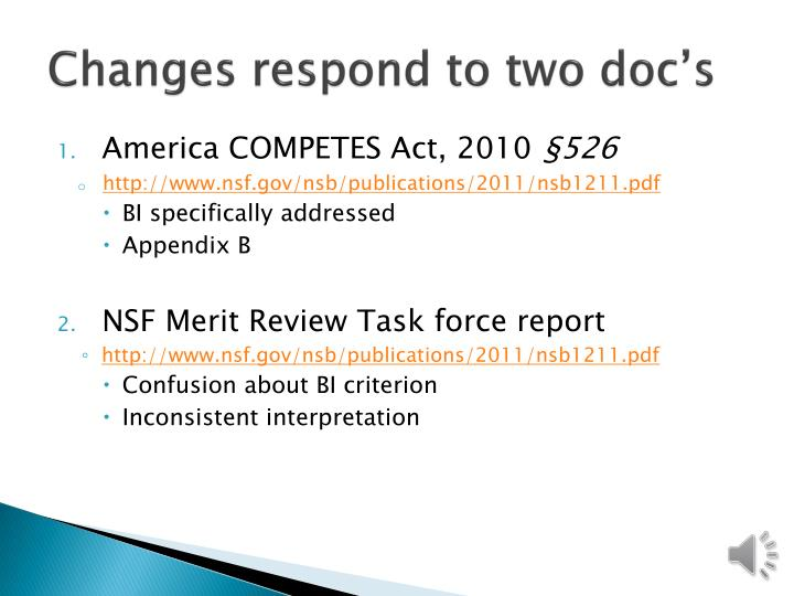 Changes respond to two doc's