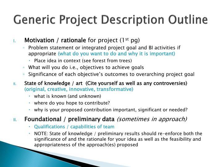 Generic Project Description Outline