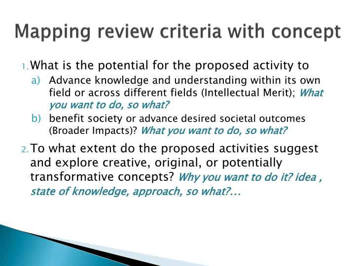Mapping review criteria
