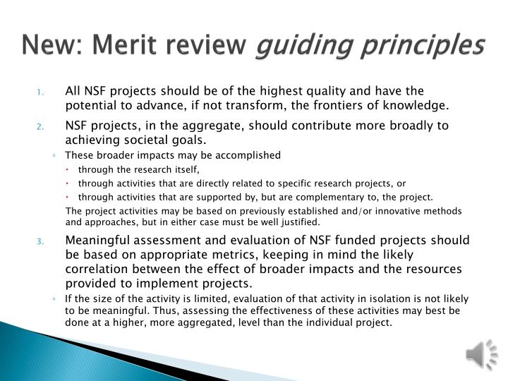 New: Merit review