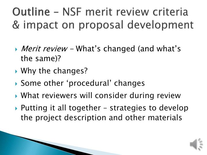 Outline nsf merit review criteria impact on proposal development