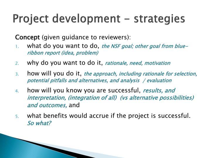 Project development - strategies