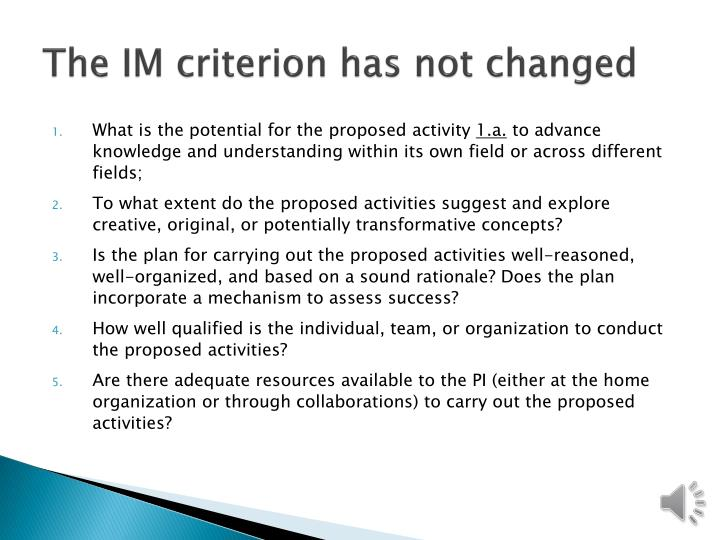 The IM criterion has not changed