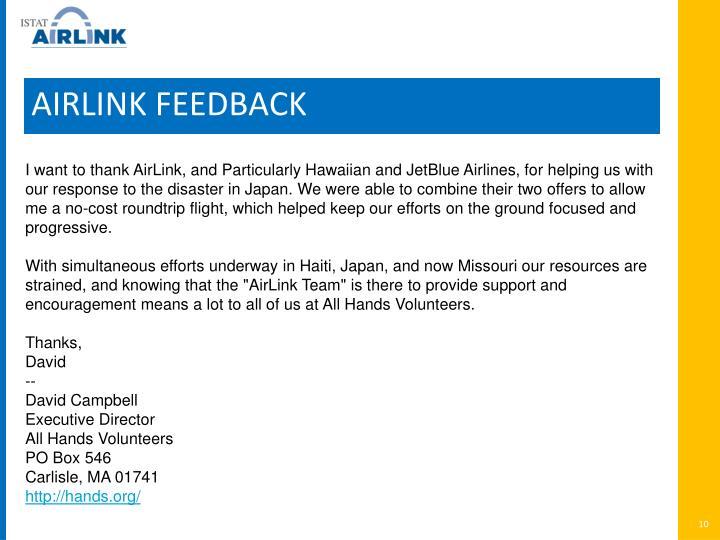 AIRLINK FEEDBACK