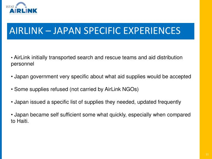 AIRLINK – JAPAN SPECIFIC EXPERIENCES