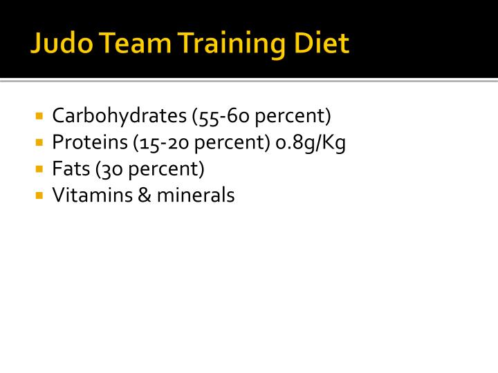 Judo Team Training Diet