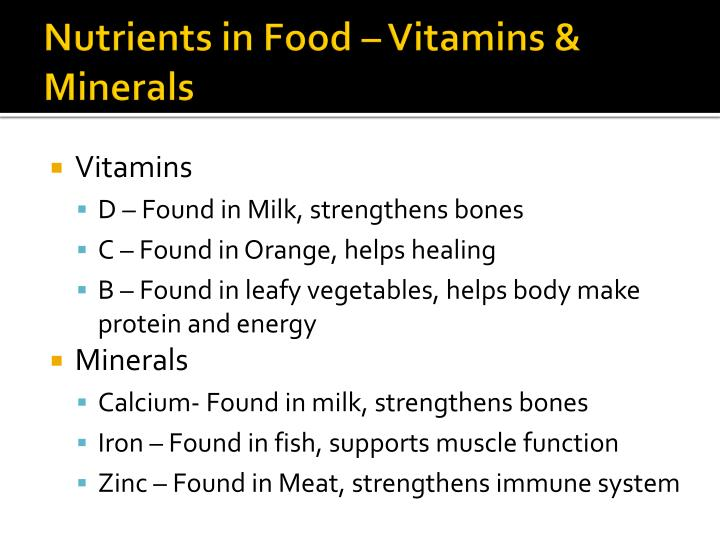 Nutrients in Food – Vitamins & Minerals