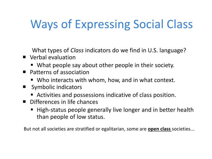 Ways of Expressing Social Class