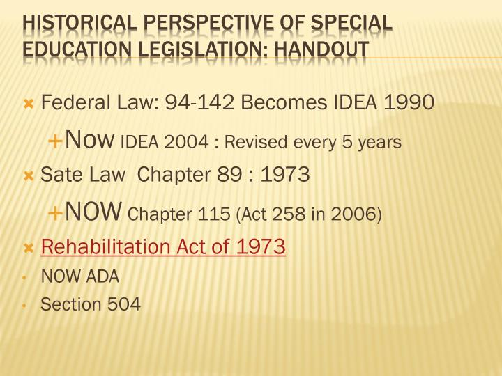 Federal Law: 94-142 Becomes IDEA 1990