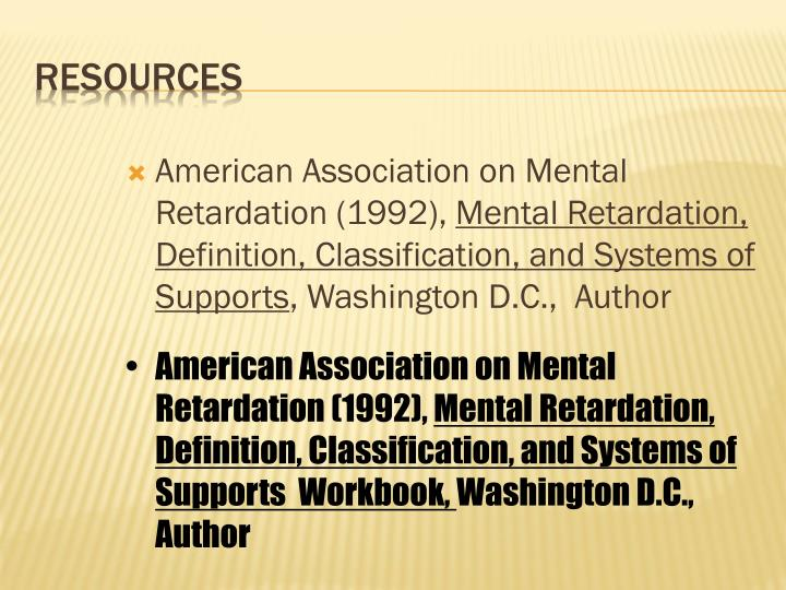 American Association on Mental Retardation (1992),