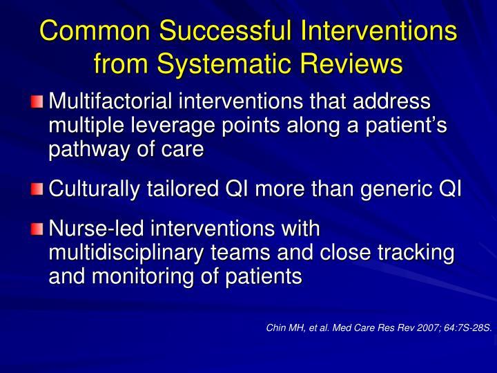 Common Successful Interventions
