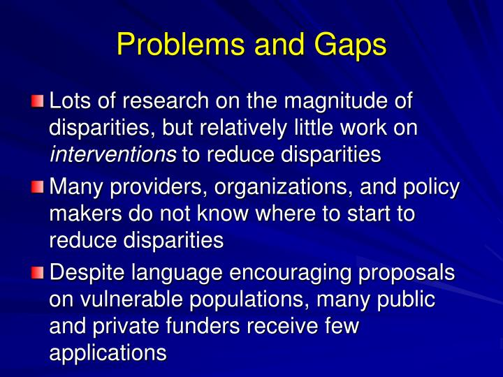 Problems and Gaps
