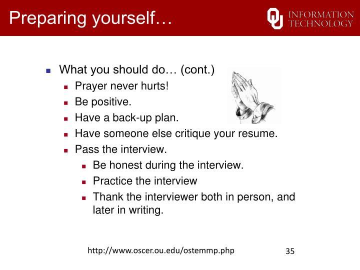 Preparing yourself…
