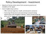 policy development investment