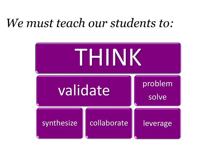 We must teach our students to: