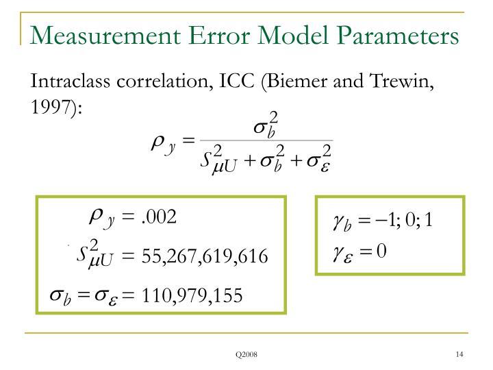 Measurement Error Model Parameters