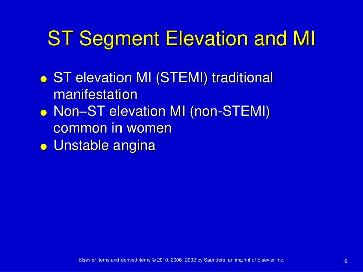 ST Segment Elevation and MI