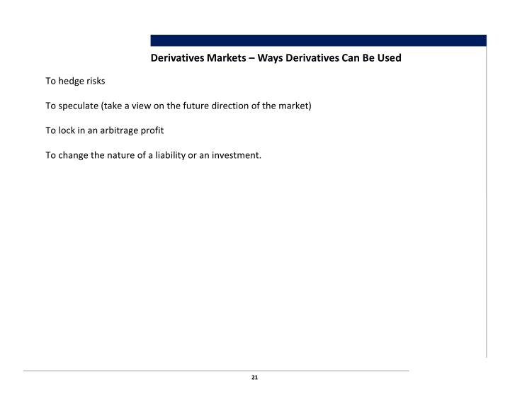 Derivatives Markets – Ways Derivatives Can Be Used