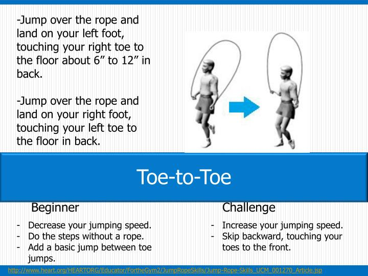 "-Jump over the rope and land on your left foot, touching your right toe to the floor about 6"" to 12"" in back."