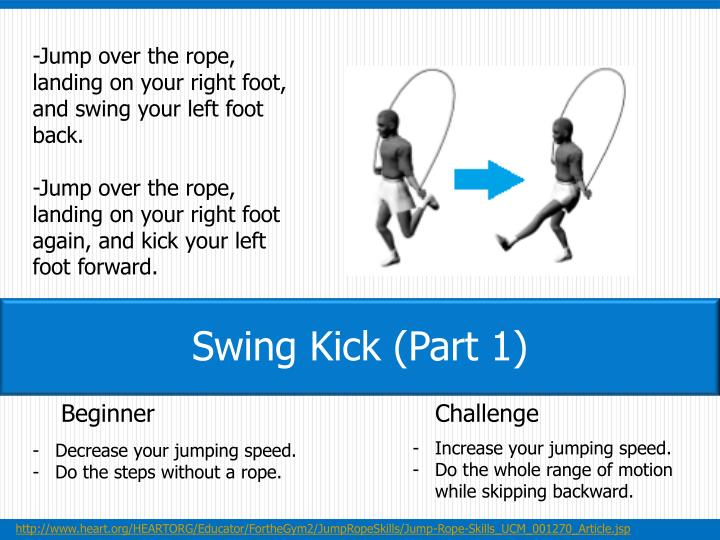 -Jump over the rope, landing on your right foot, and swing your left foot back.