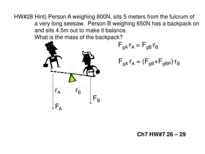 HW#28 Hint) Person A weighing 800N, sits 5 meters from the fulcrum of