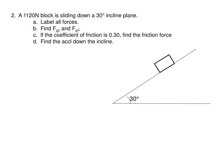 2.  A 1120N block is sliding down a 30° incline plane.
