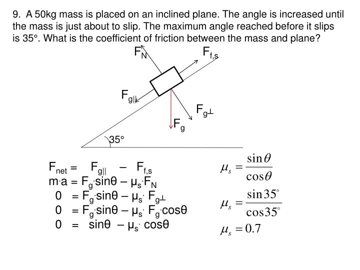 9.  A 50kg mass is placed on an inclined plane. The angle is increased until