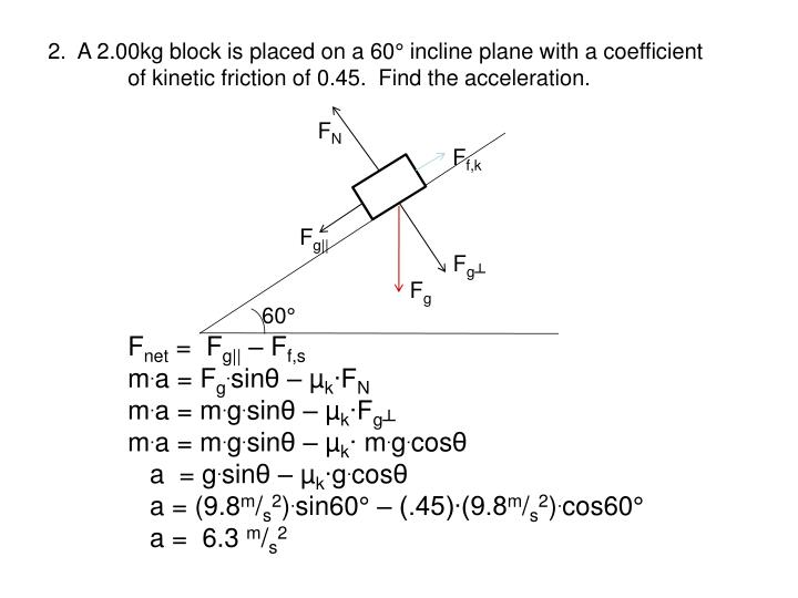 2.  A 2.00kg block is placed on a 60° incline plane with a coefficient