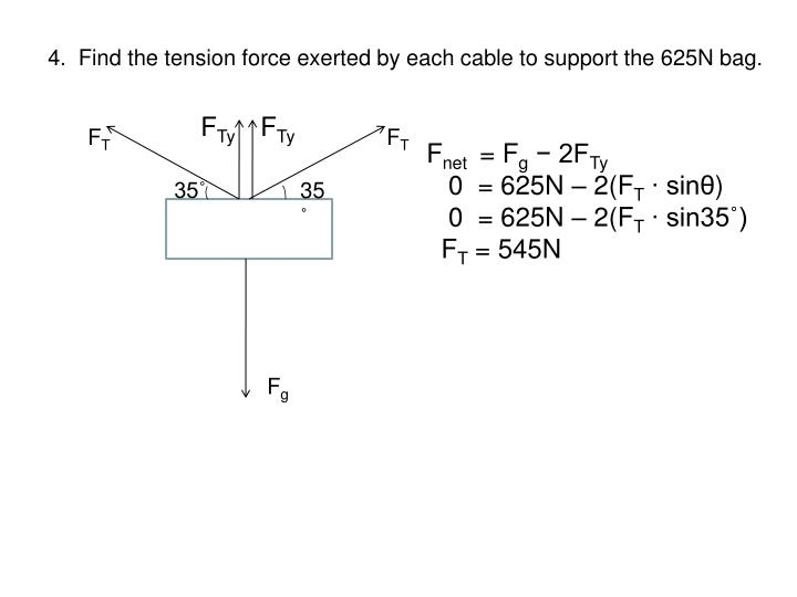 4.  Find the tension force exerted by each cable to support the 625N bag.
