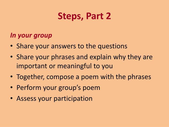 Steps, Part 2