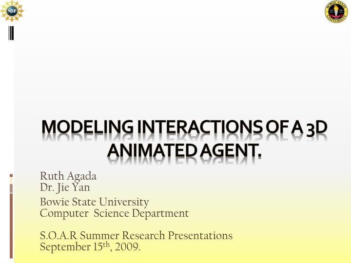 Modeling interactions of a 3d animated agent