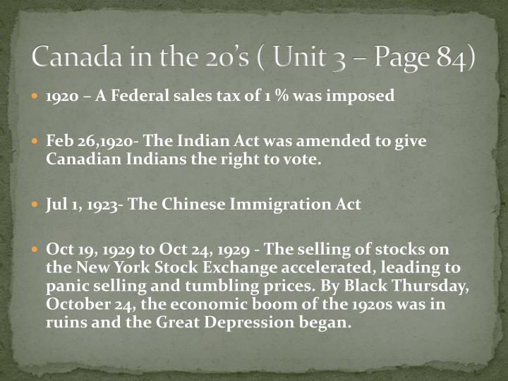 Canada in the 20's ( Unit 3 – Page 84)