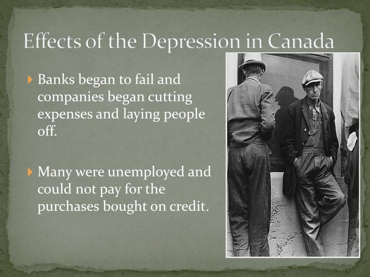 Effects of the Depression in Canada
