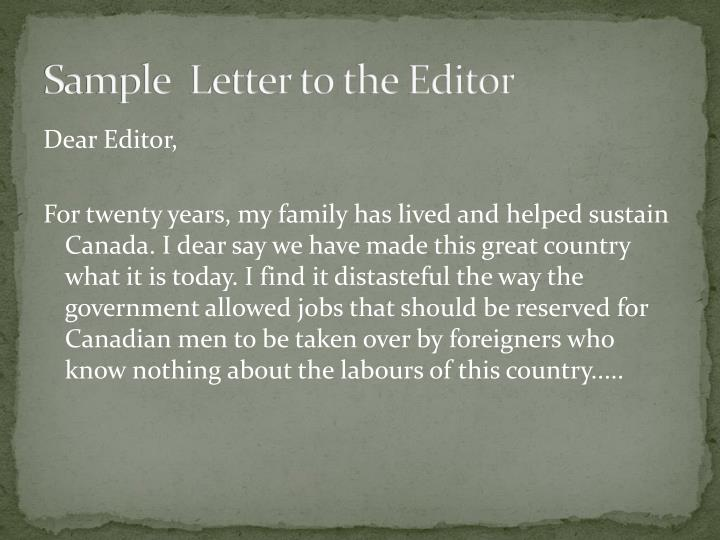 Sample  Letter to the Editor