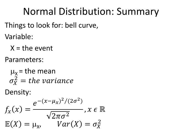 Normal Distribution: Summary