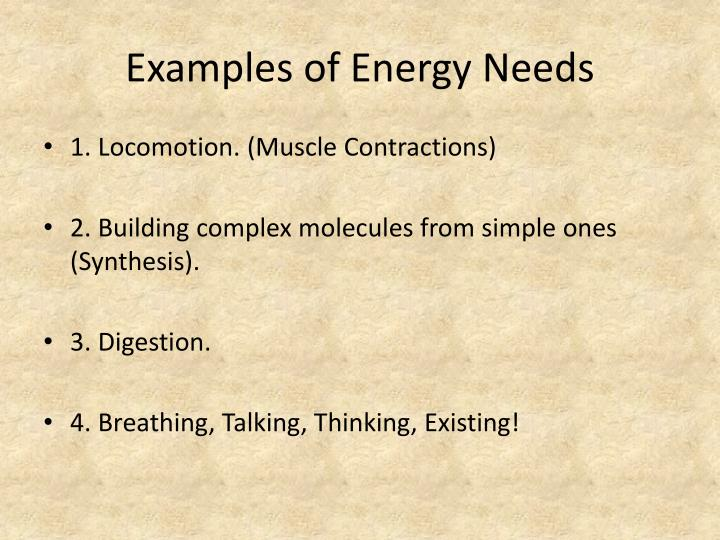 Examples of Energy Needs