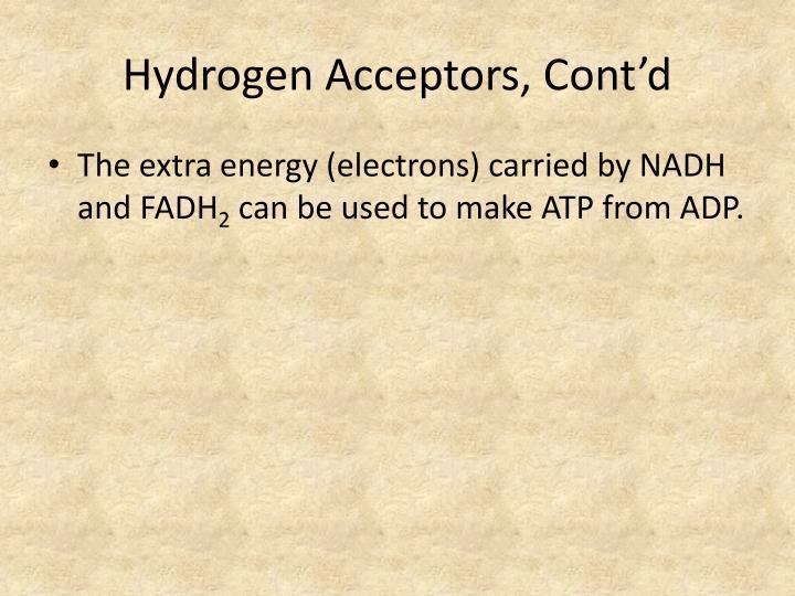 Hydrogen Acceptors, Cont'd
