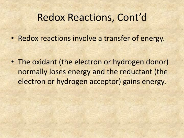 Redox Reactions, Cont'd