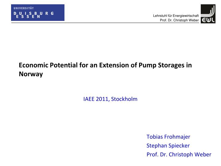 Economic Potential for an Extension of Pump Storages in Norway