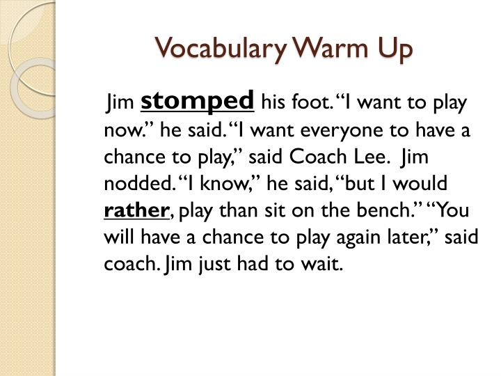 Vocabulary Warm Up