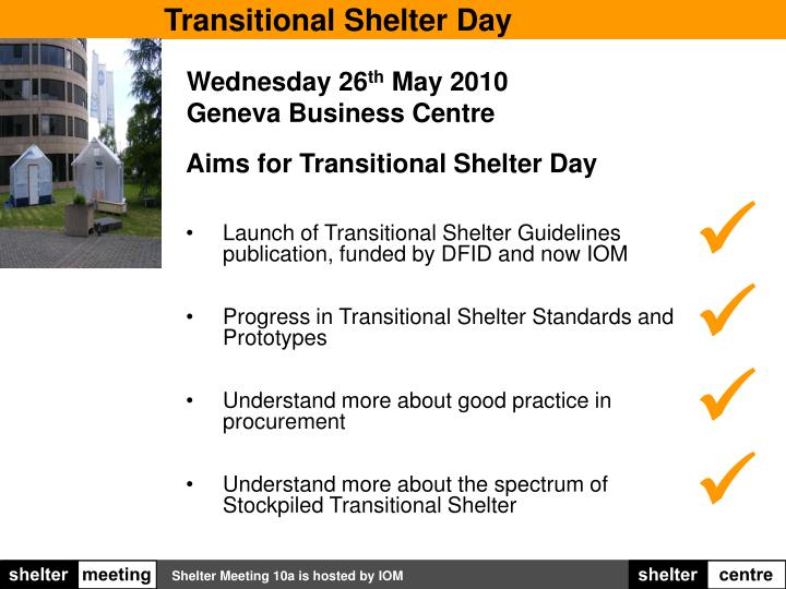 Transitional Shelter Day