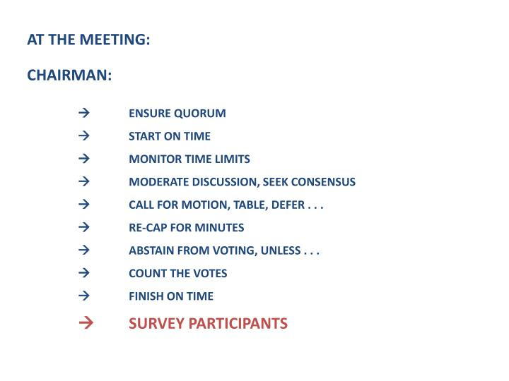 AT THE MEETING: