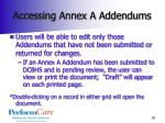accessing annex a addendums