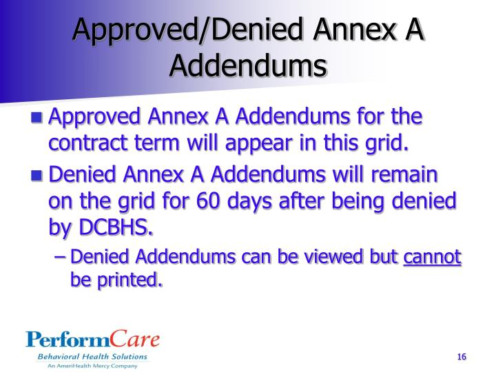 Approved/Denied Annex A Addendums