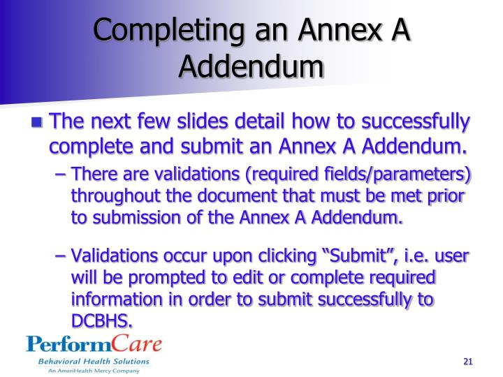 Completing an Annex A Addendum