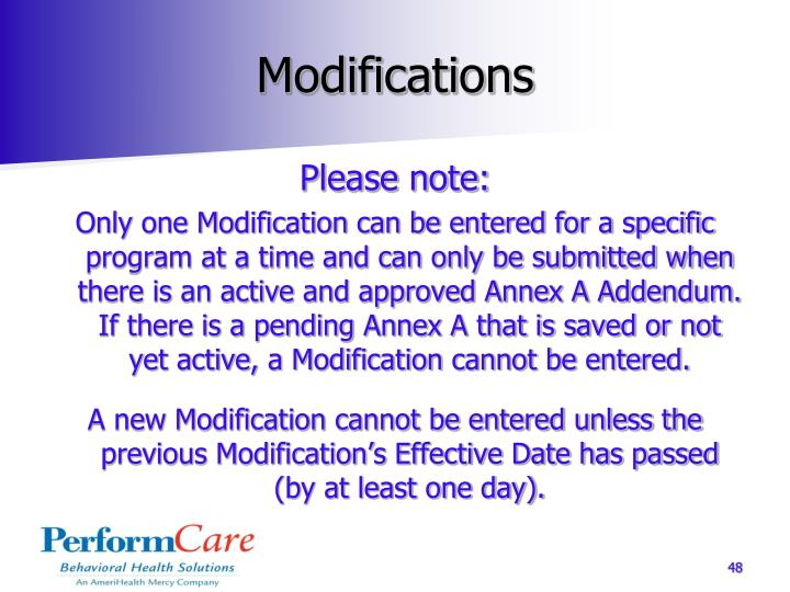 Modifications