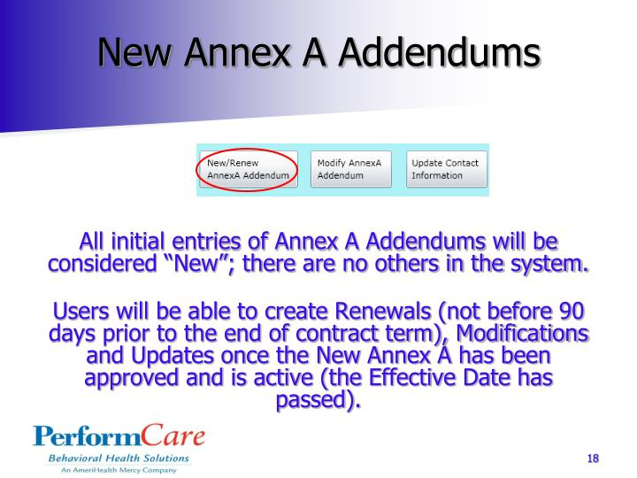 New Annex A Addendums