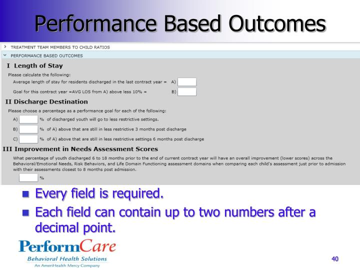 Performance Based Outcomes