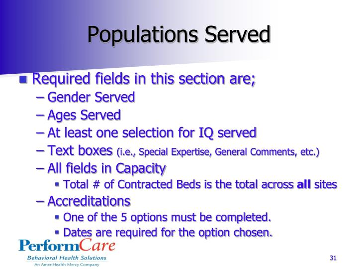 Populations Served
