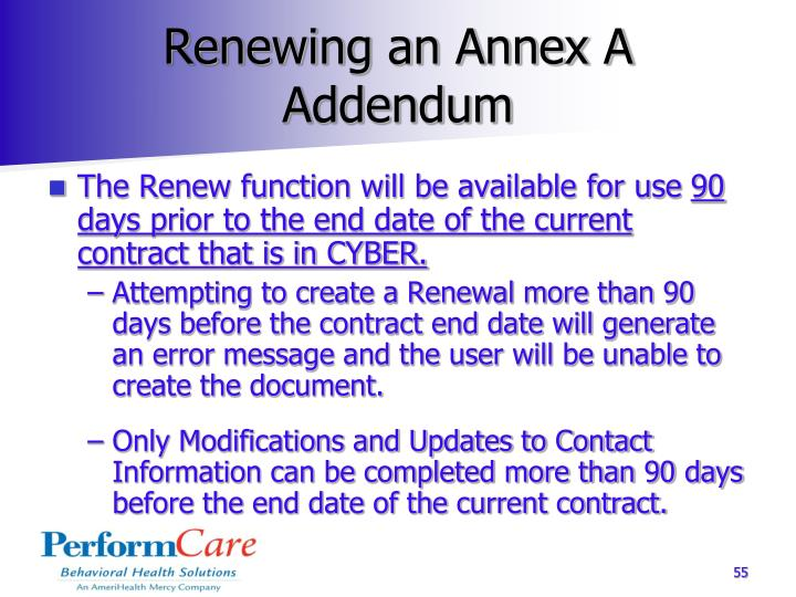 Renewing an Annex A Addendum
